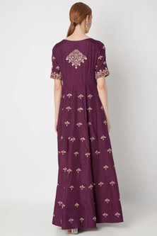 Wine Embroidered Anarkali Gown With Dupatta by The Jaipur Story