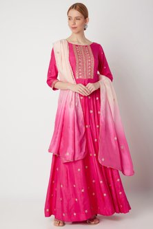 Fuchsia Embroidered Anarkali With Dupatta by The Jaipur Story