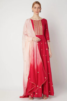 Red Embroidered Anarkali With Dupatta by The Jaipur Story