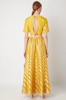 Mustard Yellow Banarasi Lehenga Set by The Jaipur Story