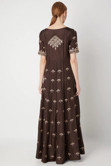 Brown Embroidered Anarkali Gown With Dupatta by The Jaipur Story