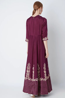 Wine Embroidered Anarkali With Dupatta by The Jaipur Story