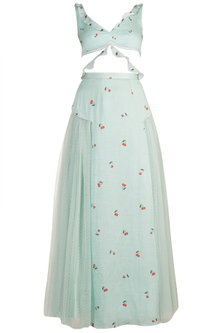 Mint Blue Embroidered & Printed Lehenga Set by The little black bow