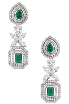 Silver Plated Diamond and Green Semi Precious Stone Earrings by TI Couture By Tania M Kathuria