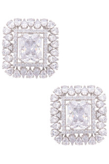 Silver plated american diamonds stud earrings by TI Couture By Tania M Kathuria