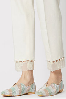 Multi Colored Embroidered Ballet Flats by TEAL BY VRINDA GUPTA
