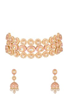 Gold Finish Pink Meenakari Choker Necklace Set by Tanzila Rab