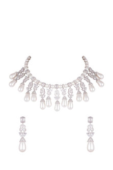 Gold Plated White Sapphire Necklace Set by Tanzila Rab