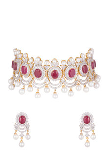 Gold Plated Ruby Choker Necklace Set by Tanzila Rab