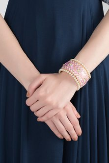 Gold Plated Meenakari Openable Cuff by Tanzila Rab