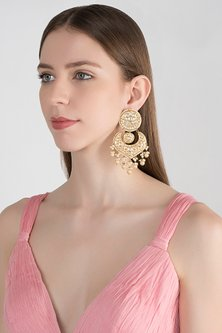 Gold Plated Meenakari Pearl Chandbali Earrings by Tanzila Rab