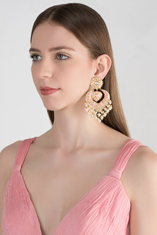 Gold Plated Meenakari Chandbali Earrings by Tanzila Rab