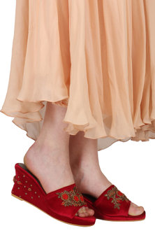 Maroon Embroidered Wedge Sandals by TEAL BY VRINDA GUPTA