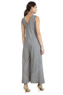 Grey Hand Embroidered Jumpsuit by The Right Cut