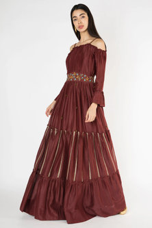 Wine Embroidered Chanderi Gown by The Right Cut
