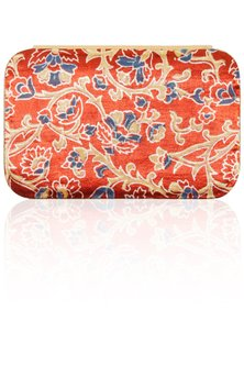Red floral printed clutch by Tresor