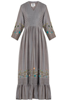 Taupe Pintuck Embroidered Gown by The Right Cut