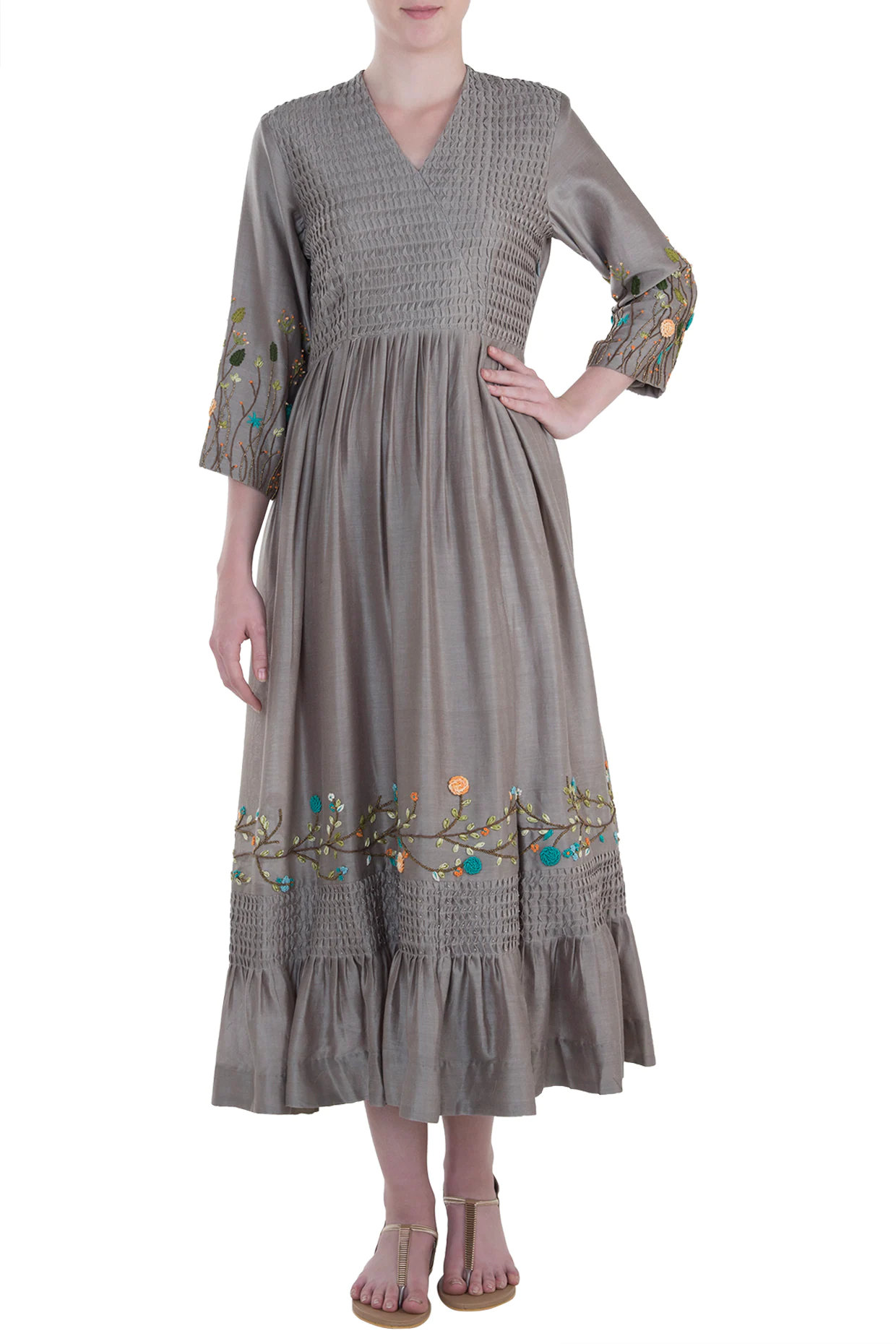 Taupe Pintuck Embroidered Gown
