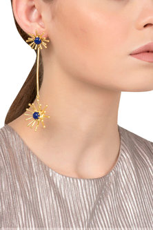 Gold Plated Long Blue Semi Precious Studded Earrings by Tarusa