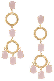Gold Plated Long Pink Studded Earrings by Tarusa