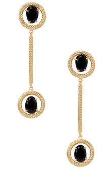 Gold Plated Black Semi Precious Stone Studded Earrings by Tarusa