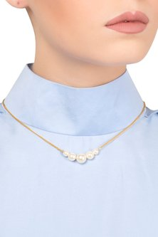 Gold Plated White Pearl String Necklace by Tarusa