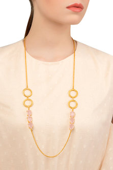 Gold Plated Pastel Pink Semi Precious Stones Necklace by Tarusa
