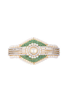 White & Gold Finish Cubic Zirconia, Green CZ & Pearl Bracelet by Tsara