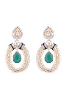 White & Gold Finish Cubic Zirconia, Pearl & Cut Emerald Earrings by Tsara