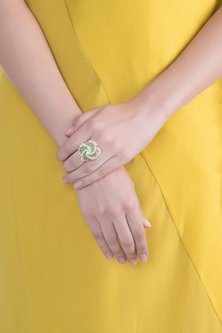 White & Gold Finish Cubic Zirconia & Shell Pearl Ring by Tsara