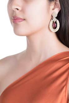 White & Gold Finish Cubic Zirconia, Ruby & Pearl Earrings by Tsara
