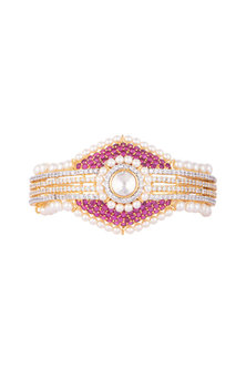 White & Gold Finish Cubic Zirconia & Pearl Bracelet by Tsara