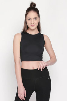 Black Polyester Crop Top by Tuna London