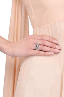Silver Finish Flower Motif Ring by Tanvi Garg