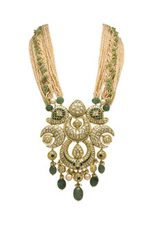 Gold Long Necklace With Pearls, Polkis & Emeralds by Tyaani-Shop By Style