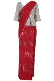 Red Tye and Dye Saree by Urvashi Kaur