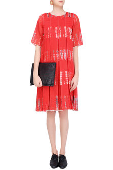 Red, Ecru and Dark Grey Tye and Dye Dress by Urvashi Kaur