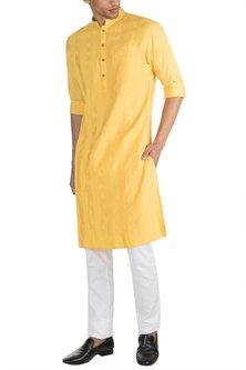 Yellow Embroidered Pintuck Kurta by Unit by Rajat Suri