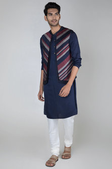 Multi Colored Panelled Layered Waistcoat by Unit by Rajat Suri