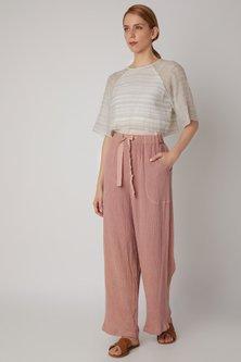 Blush Pink Viscose Cotton Pants by Urvashi Kaur