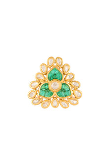 Gold Finish Green Stone Ring by VASTRAA Jewellery