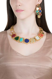 Gold Finish Multi Colored Stone Necklace Set by VASTRAA Jewellery