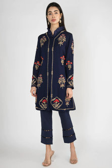 Navy Blue Embroidered & Printed Jacket With Pants by Varsha Wadhwa