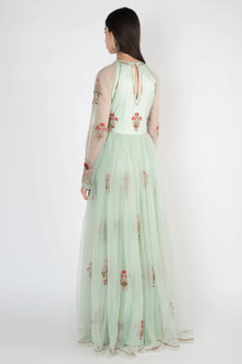 Mint Green Embroidered & Printed Gown by Varsha Wadhwa