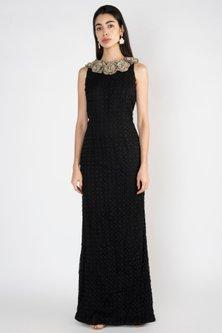 Black Embroidered Sleeveless Gown by Varsha Wadhwa