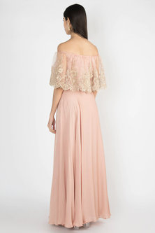 Nude Crop Top With Attached Embroidered Cape & Skirt by Varsha Wadhwa