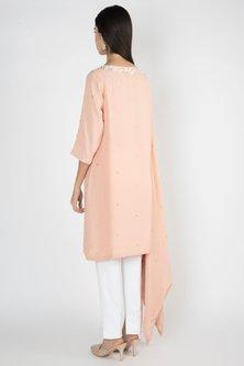 Peach Embroidered Kaftan Tunic by Varsha Wadhwa