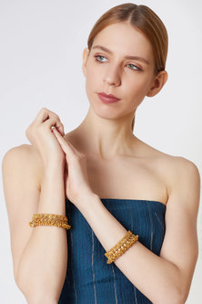 Gold Finish Openable Ghungroo Bangles by VASTRAA Jewellery