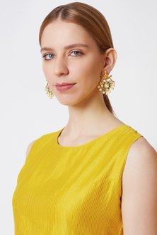 Gold Finish Kundan Temple Earrings by VASTRAA Jewellery