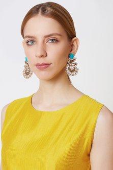 Gold Finish Kundan & Stone Earrings by VASTRAA Jewellery
